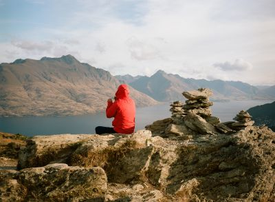 Time for a break atop Queenstown Hill, New Zealand